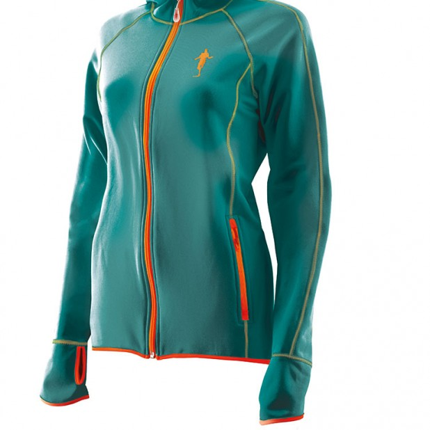 Produktfoto thoni mara runner´s wear DAMEN Fleece - Hoodie petrol
