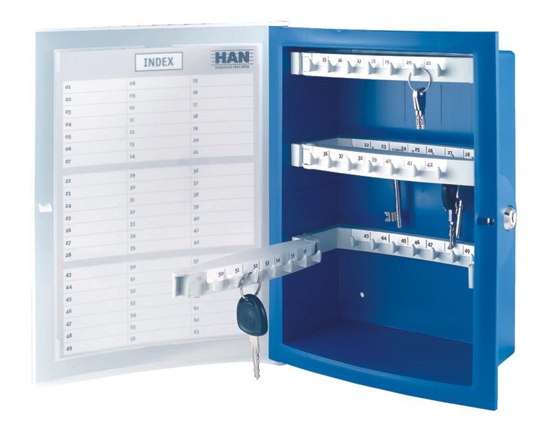 HAN INDEX Schlüsselkasten blau für 63 Schlüssel, Art.Nr.HAN-4023-14 ...