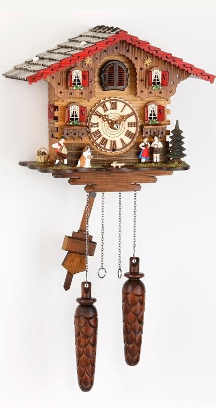 quarz kuckucksuhr 25cm schwarzwaldhaus mit holzziffern und holzzeigern art nr tre449q hzzg. Black Bedroom Furniture Sets. Home Design Ideas